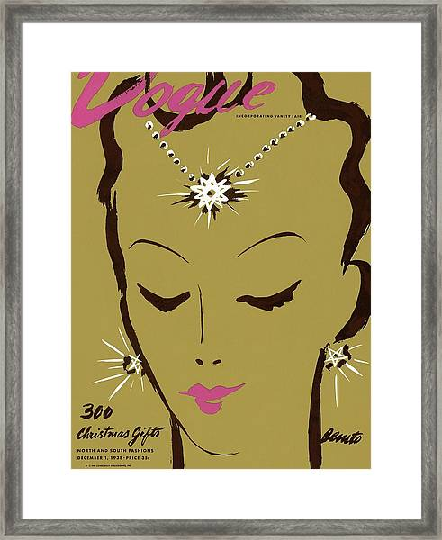 Vogue Cover Illustration Of A Woman Wearing Star Framed Print by Eduardo Garcia Benito
