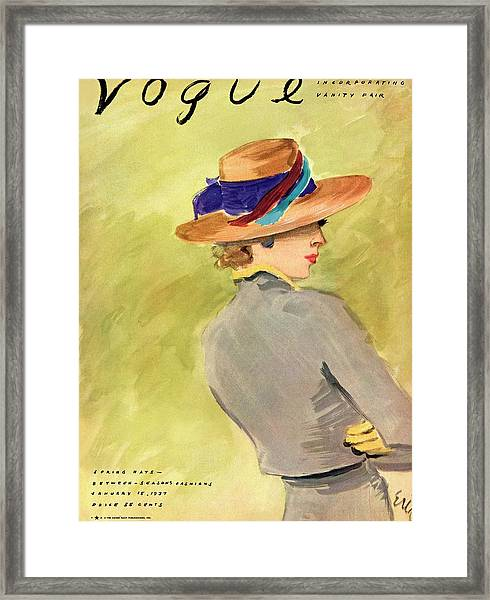Vogue Cover Illustration Of A Woman Wearing Straw Framed Print by Carl Oscar August Erickson