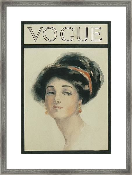 Vogue Cover Illustration Of A Woman With Black Framed Print