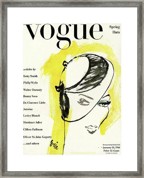 Vogue Cover Illustration Of A Woman's Head Half Framed Print