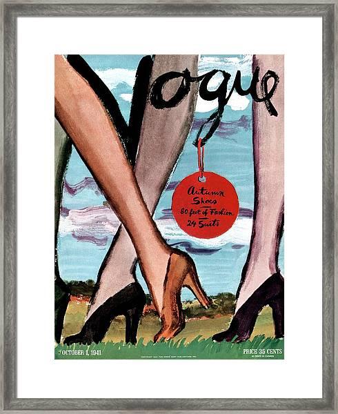 Vogue Cover Illustration Of Female Legs Wearing Framed Print
