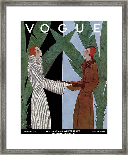 Vogue Cover Illustration Of Two Women Holding Framed Print
