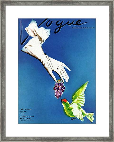Vogue Cover Illustration Of White Gloves Framed Print