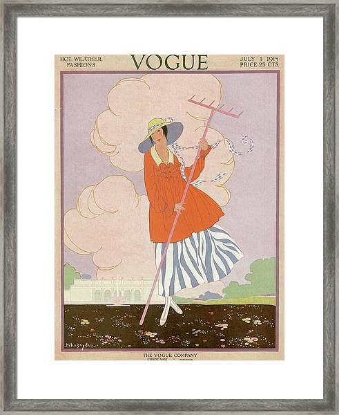Vogue Cover Illustration Of Woman Holding Rake Framed Print