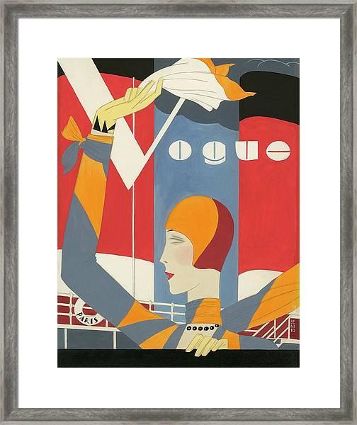 Vogue Cover Illustration Of Woman Waving Framed Print