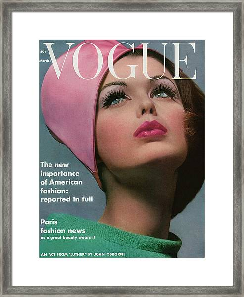 Vogue Cover Of Dorothy Mcgowan Framed Print
