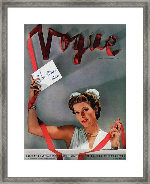 Vogue Cover Of Helen Bennett Wearing Tiffany & Framed Print by John Rawlings