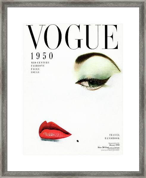 Vogue Cover Of Jean Patchett Framed Print by Erwin Blumenfeld
