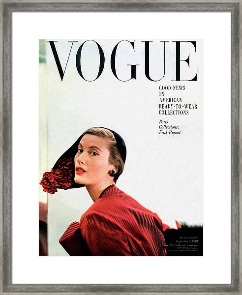 Vogue Cover Of Mary Jane Russell Framed Print