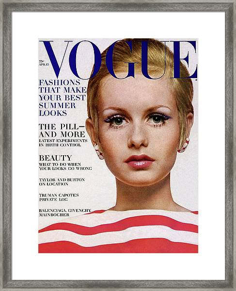 Vogue Cover Of Twiggy Framed Print