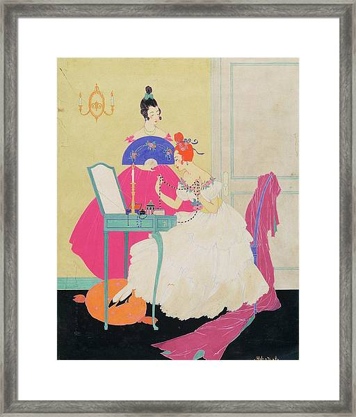 Vogue Illustration Of Two Women Around A Vanity Framed Print