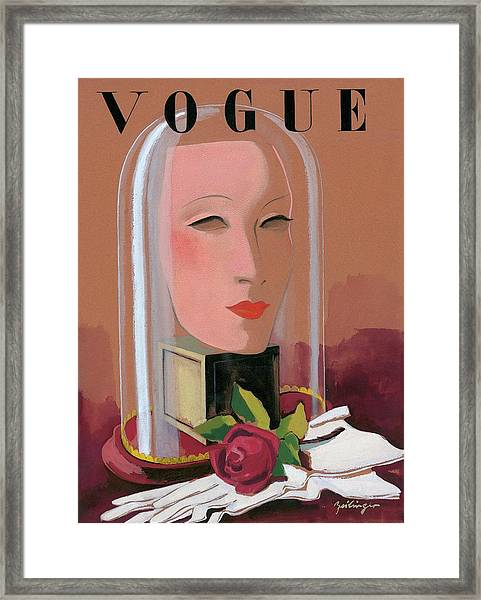 Vogue Magazine Cover Featuring A Mask Framed Print