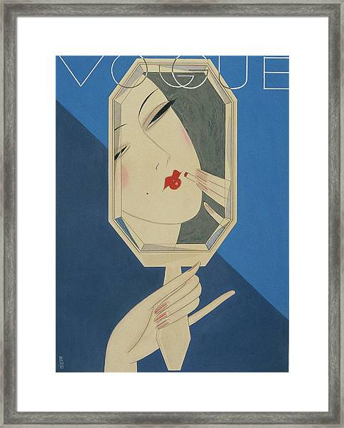 Vogue Magazine Cover Featuring A Reflection Framed Print by Eduardo Garcia Benito