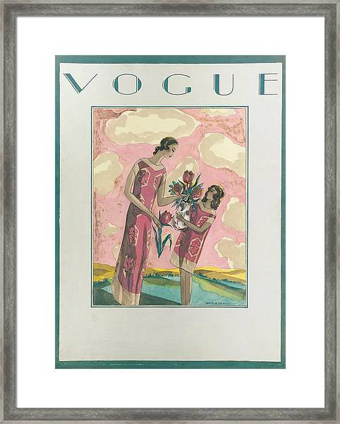 Vogue Magazine Cover Featuring A Woman Framed Print by Joseph B Platt