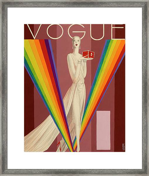 Vogue Magazine Cover Featuring A Woman In A Gown Framed Print