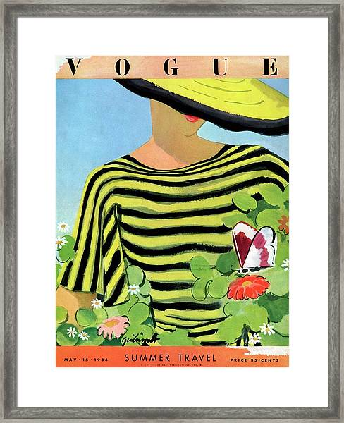 Vogue Magazine Cover Featuring A Woman Looking Framed Print
