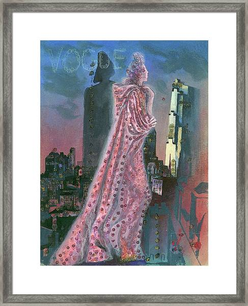 Vogue Magazine Cover Featuring A Woman Standing Framed Print