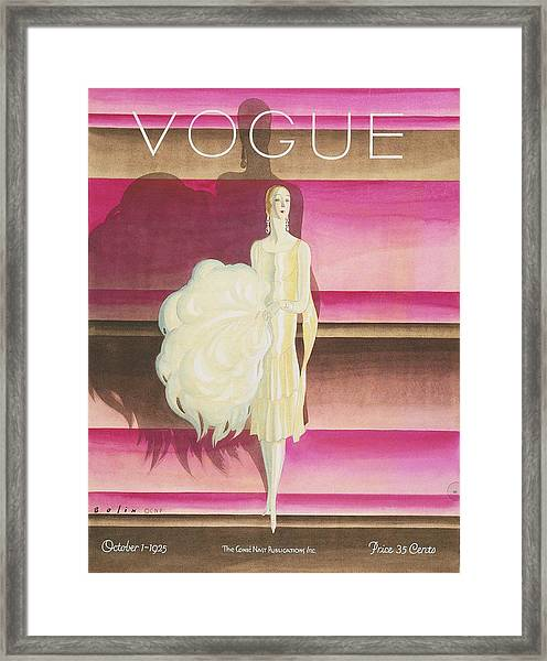 Vogue Magazine Cover Featuring A Woman Wearing Framed Print by William Bolin