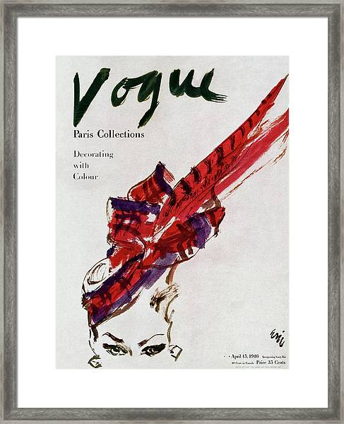 Vogue Magazine Cover Featuring Model Dorian Leigh Framed Print