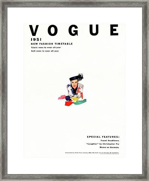 Vogue Magazine Cover Featuring Model Lillian Framed Print by Erwin Blumenfeld