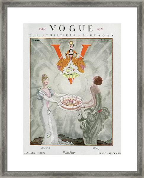 Vogue Magazine Cover Featuring Two Women Carrying Framed Print