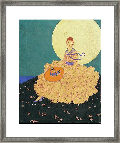 Vogue Magazine Illustration Of A Woman Sitting Framed Print