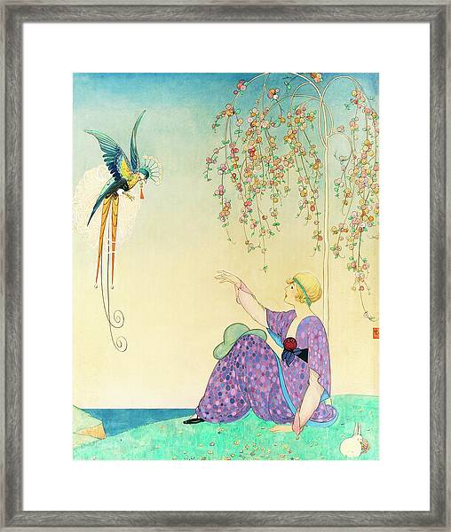 Vogue Magazine Illustration Of Woman Reaching Framed Print