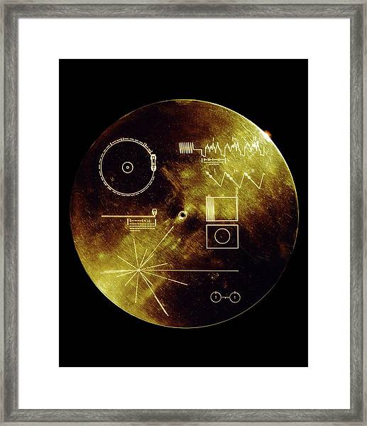 Voyager Spacecraft Plaque Framed Print by Nasa/science Photo Library