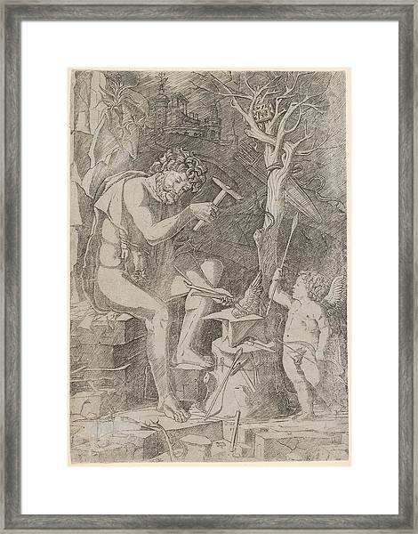 Vulcan Seated Forging Cupids Wing Framed Print