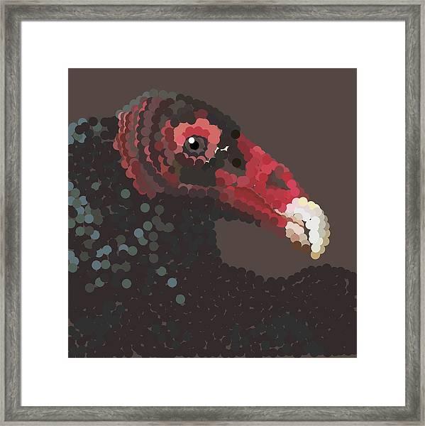 Vulture Pixel Pointillized Framed Print
