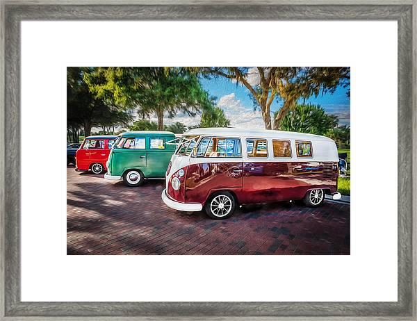 Vw Bus Stop 1964 1961 1968 Vans Trucks Painted Framed Print