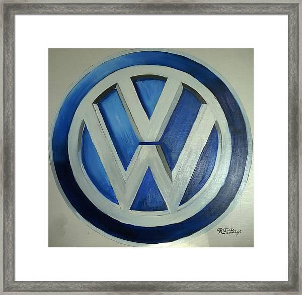 Vw Logo Blue Framed Print