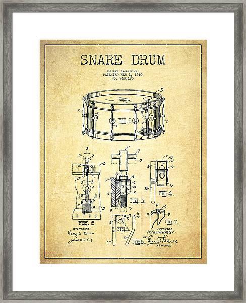 Waechtler Snare Drum Patent Drawing From 1910 - Vintage Framed Print