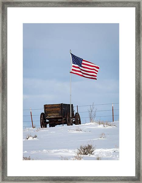 Wagon And Flag Framed Print