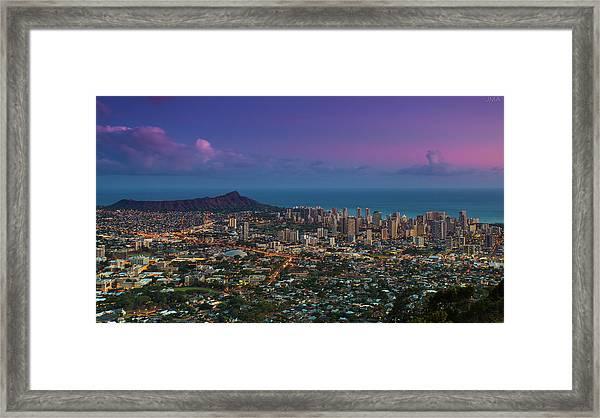 Waikiki And Diamond Head At Sunset Framed Print