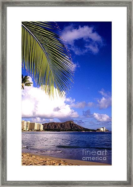 Waikiki Beach Diamond Head Framed Print