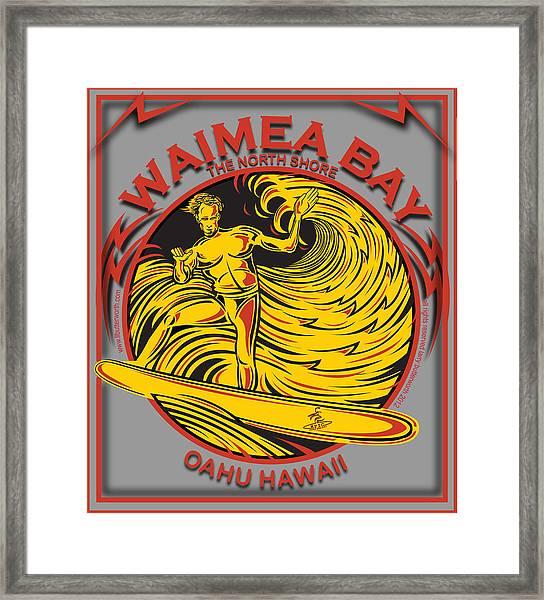 Waimea Bay Oahu Hawaii Surfing Framed Print