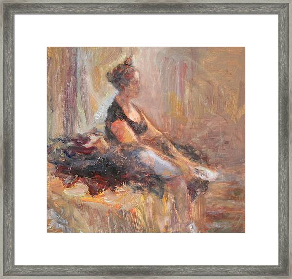 Waiting For Her Moment - Impressionist Oil Painting Framed Print