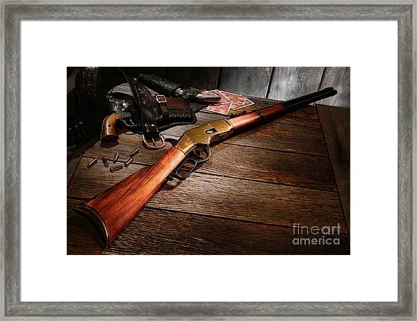 Waiting For The Gunfight Framed Print