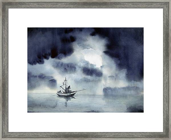 Waiting Out The Squall Framed Print