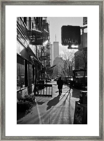Walk Manhattan 1980s Framed Print