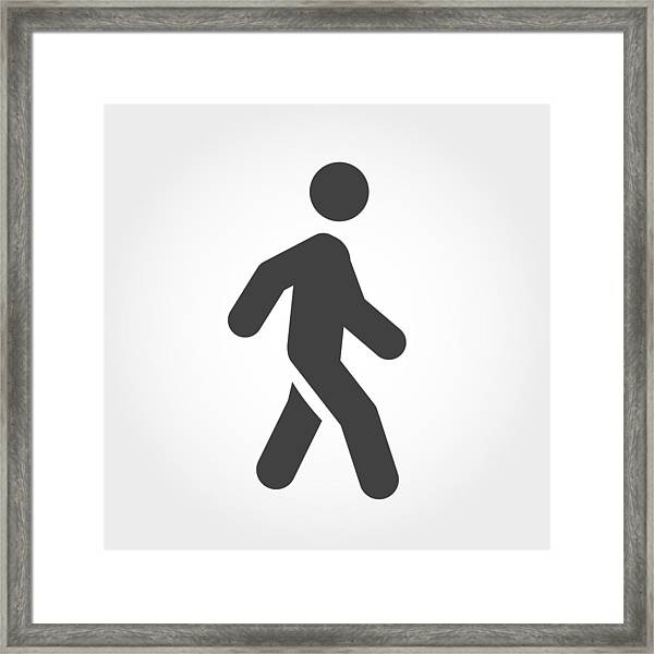 Walking Stick Figure Icon - Iconic Series Framed Print by -victor-