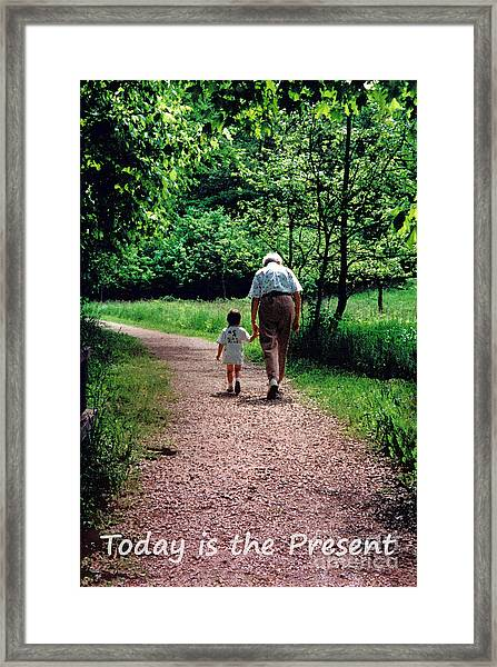 Walking With Grandma Framed Print