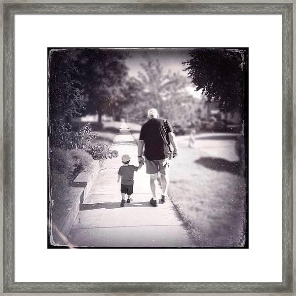 Walking With Grandpa Framed Print