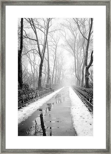 Walkway Snow And Fog Nyc Framed Print