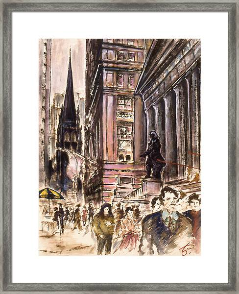 New York Wall Street - Fine Art Painting Framed Print