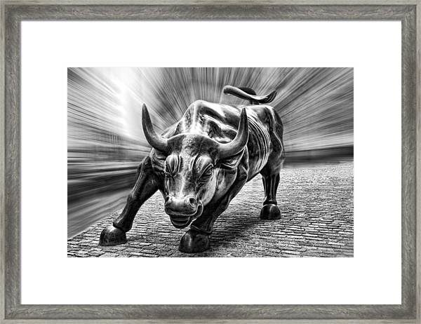 Wall Street Bull Black And White Framed Print