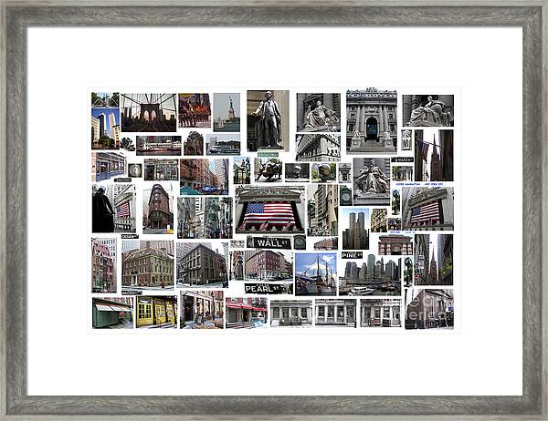 Wall Street Financial District Collage Framed Print