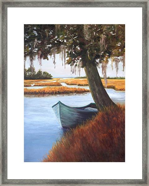 Wallowing In The Marsh Framed Print by Karen Langley