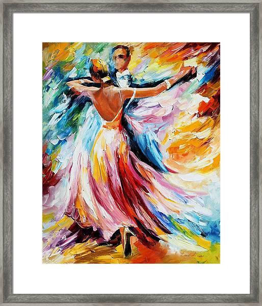 Waltz - Palette Knife Oil Painting On Canvas By Leonid Afremov Framed Print